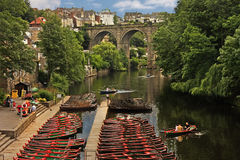 Knaresborough. A view of the river Nidd and viaduct at Knaresborough in Yorkshire, England Stock Images