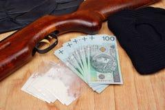 Knarklangare för sakerbanditbrottsling Fotografering för Bildbyråer