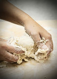 Kneading bread dough Royalty Free Stock Photography