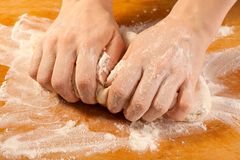 Kneading the dough Royalty Free Stock Image
