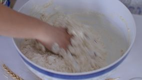 Kneading the dough stock video footage