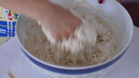 Kneading the dough stock footage