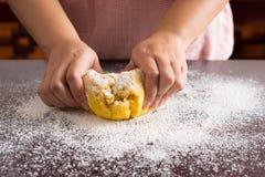 Kneading dough Royalty Free Stock Image
