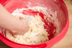 Kneading a dough Royalty Free Stock Image