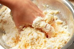 Kneading the dough with hands Royalty Free Stock Images