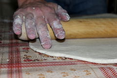 Kneading. Dough homemade pizza pie Royalty Free Stock Photos