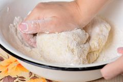 Kneading dough Royalty Free Stock Image