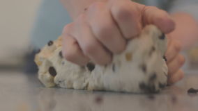 Kneading Fruit Bread Dough Mix. Home Baking. Shallow Focus, Flat Color Profile. stock video