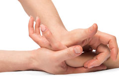 Kneading massage hands, close-up shot Stock Photography