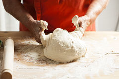 Kneading Pizza Dough Stock Photography