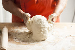 Kneading Pizza Dough Royalty Free Stock Photo