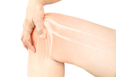 Knee bone pain. In white Royalty Free Stock Photography