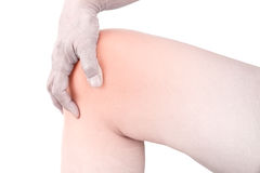 Knee bones pain. White background Royalty Free Stock Photography