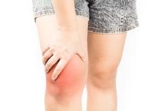 Knee bones pain. White background Royalty Free Stock Photo
