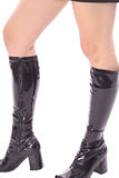 Knee high black leather boots Stock Photos