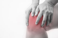 Knee injury in humans .knee pain,joint pains people medical, mono tone highlight at knee Stock Photo