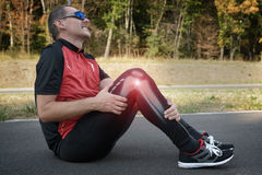 Knee injury. Runner knee injury and pain with leg bones visible stock photos