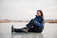 Knee injury - winter slip Royalty Free Stock Image