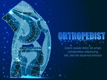 Knee Joint Cross For Basic Medical Education Also for clinics. Frame structure. Abstract polygonal illustration on a blue background with stars with stock illustration