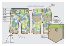 Knee-length shorts with description. Tech sketch of knee-length shorts with description stock illustration