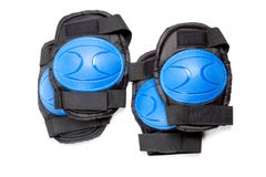 Knee pads and elbow pads. On white background royalty free stock photo