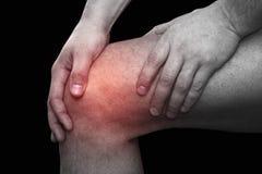 Knee pain. Young man having knee pain Stock Photos