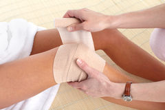 Knee pain. Knee joint  pain. Bandage. Health Royalty Free Stock Photos
