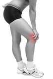 Knee Pain. Young woman with pain in her knee. Red circle around painful area Stock Photography