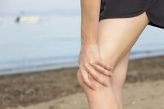 Knee pain during jogging Stock Photos