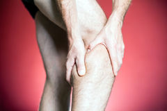 Knee Pain, man leg massage Royalty Free Stock Photos
