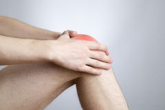 Knee pain in men. On gray background Royalty Free Stock Photos