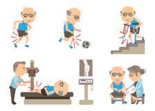 Knee Pain. Seniors Knee Pain cartoon  illustration Stock Images