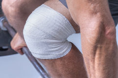 Knee wrap for weightlifting Royalty Free Stock Photo