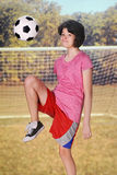 Kneeing the Soccer Ball Royalty Free Stock Photos