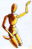 Kneeled mannequin sketch Royalty Free Stock Photos
