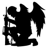 Military Angel Soldier With Wings Kneeling Silhouette Vector Illustration. Kneeling angel soldier looking down holding rifle, solemn feeling, patriotic, vector stock illustration