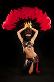 Kneeling Belly Dancer with Feather Fan Stock Image