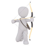 Kneeling 3D illustrated figure holds bow and arrow. In preparation to shoot Stock Photography