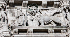 Kneeling Doge and Lion of Venice Royalty Free Stock Photos