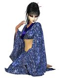Kneeling Geisha in Blue Flower Kimono. Young Geisha woman wearing a blue flower patterned silk kimono kneeling in a thoughtful pose, 3d digitally rendered Royalty Free Stock Images