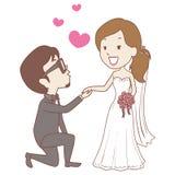 Kneeling Groom with Bride Wedding Proposal Royalty Free Stock Photography