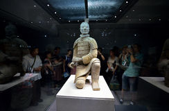 Kneeling Shoot Terracotta Warrior. The Terracotta Army is a collection of terracotta sculptures depicting the armies of Qin Shi Huang, the first Emperor of China Stock Image