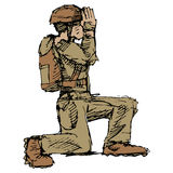 Kneeling Soldier Stock Photo