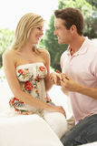Kneeling Young Man Proposing To Woman Royalty Free Stock Photo