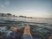 Knees in the sea Royalty Free Stock Images
