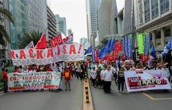 Kneget och korruption protesterar i Manila, Filippinerna royaltyfri foto