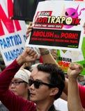 Kneget och korruption protesterar i Manila, Filippinerna arkivfoto