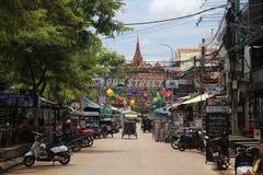 Kneipen-Straße in Siem Reap, Kambodscha Lizenzfreie Stockfotos