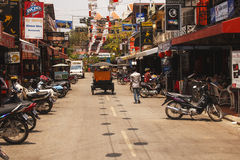 Kneipen-Straße - im Stadtzentrum gelegenes Siem Reap, Kambodscha Lizenzfreie Stockfotos
