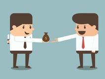 Knepig affärsman som ger pengar till annan affärsman eps10 Arkivbild